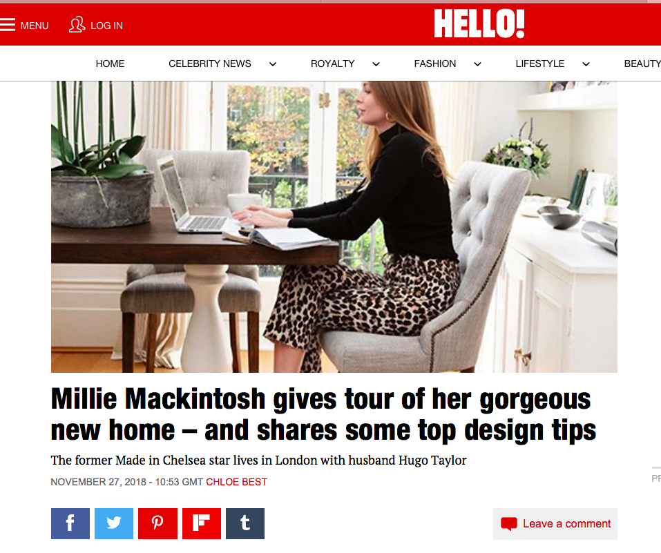 Millie's Interior Design choices feature in Hello!